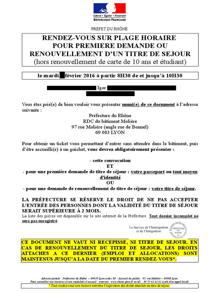 prefecture du rhone rendez vous renouvellement carte de sejour Convocation d'Igor portant mention du