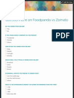 Questionnaire on Foodpanda vs Zomato
