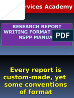 Report Writing Nspp Format