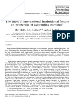 The e!ect of international institutional factors on properties of accounting