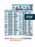 IPL 2010 Schedule and Fixture From Chiefs World