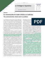 La Comunicación de Malas Noticias en Medicina