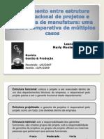 Apresentação do artigo sobre estrutura organizacional e estratégia de manufatura