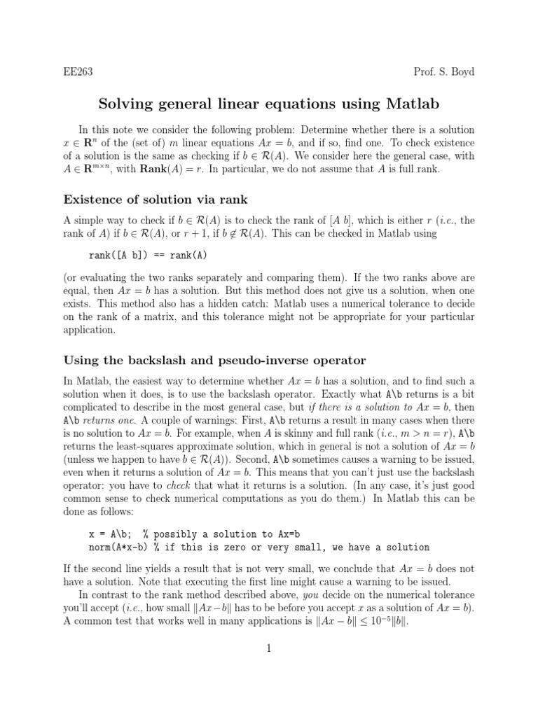 Sle Matlab   System Of Linear Equations   Matrix (Mathematics)
