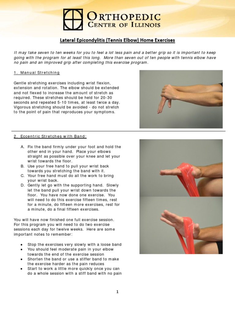 Tennis Elbow Home Exercise.pdf | Anatomical Terms Of Motion | Elbow