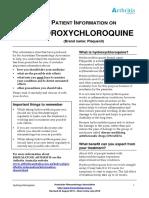 Patient Infornation on Hydroxychloroquine