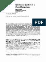 Dynamic analysis and control of a Stewart Platform kinematics, dynamics