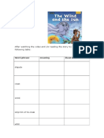 the wind and the sun vocabulary activity