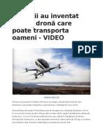 Chinezii Au Inventat PRIMA Dronă Care Poate Transporta Oameni