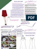 Instrucciones de Costura de Precioso Vestido de Ocasion Con Cuello Tipo Collar Mj1189v