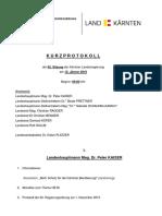 Kurzprotokoll der 62. Sitzung der Kärntner Landesregierung