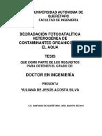 Degradacion Fotocatalitica Heterogenia de Contaminantes Organicos en El Agua.