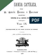 Propaganda Catolica Sarda y Salvany Tomo IX