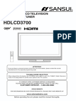 Sansui HDLCD-3700 Flat Panel Television User Manual