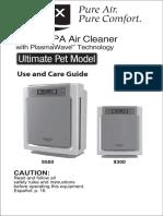 Winix WAC9500 Use and Care Guide