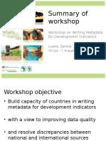 Summary of Workshop