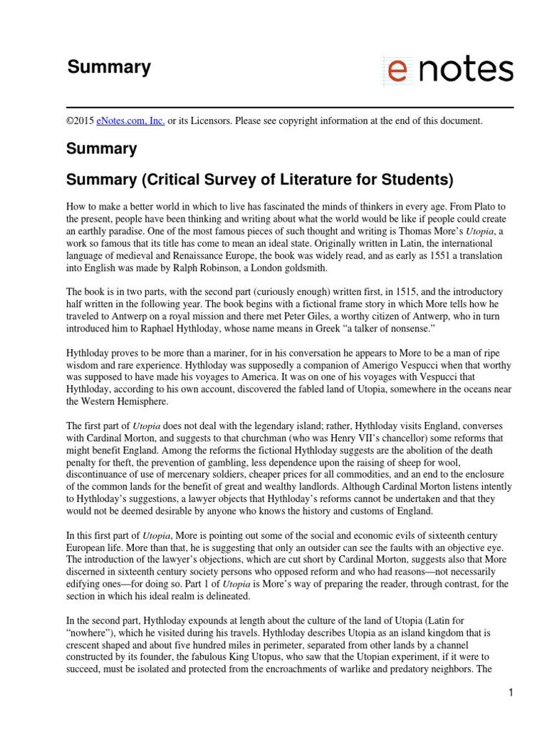critical essay on utopia