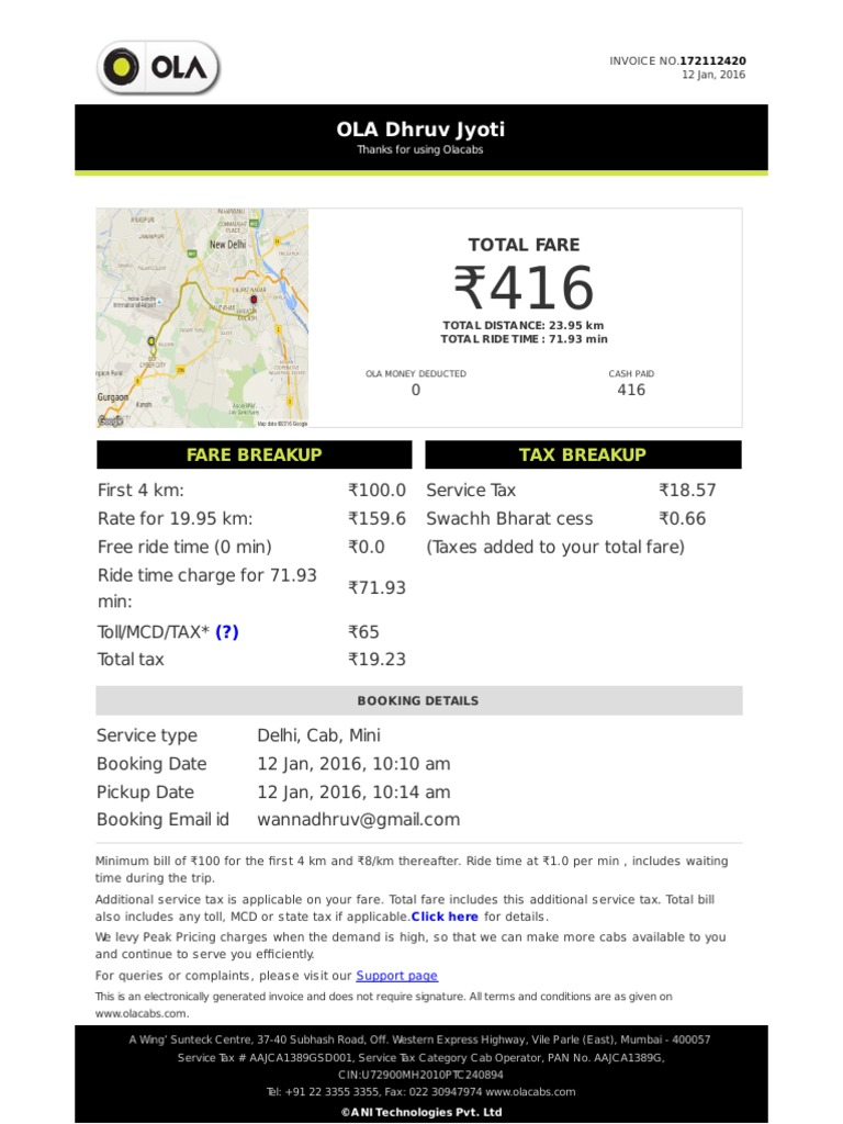 Ola cabs receipt pronofoot35fo Gallery