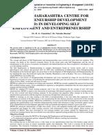 ROLE OF MAHARASHTRA CENTRE FOR ENTREPRENEURSHIP DEVELOPMENT (MCED) IN DEVELOPING SELF EMPLOYMENT AND ENTREPRENEURSHIP