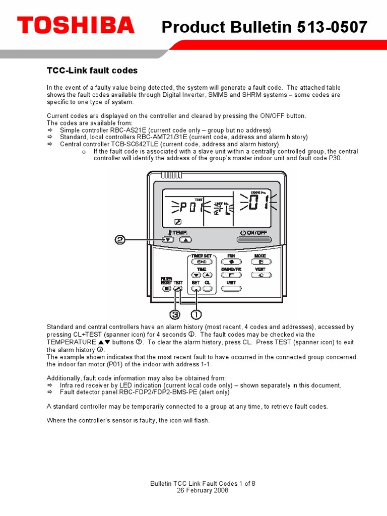 toshiba TCC Link Fault Codes pdf | Power Inverter | Thermostat