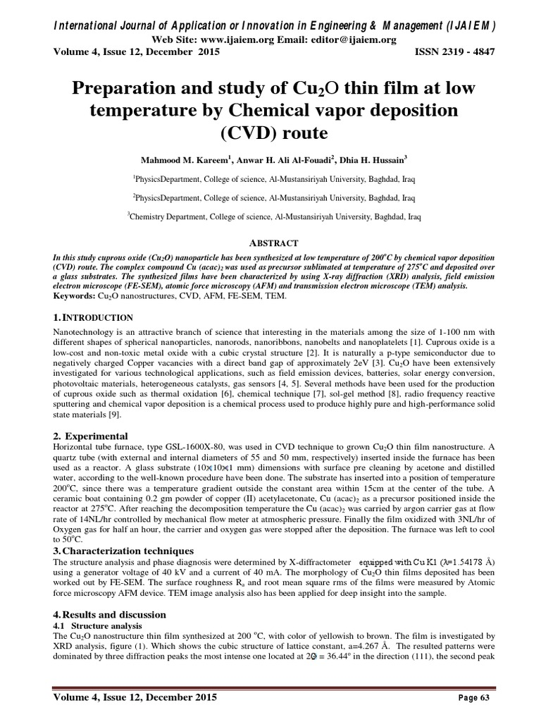 Preparation And Study Of Cu2o Thin Film At Low Temperature By Chemical Vapor Deposition Cvd Route