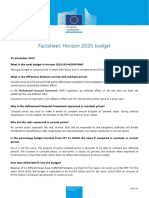 Fact Sheet on Horizon2020 Budget