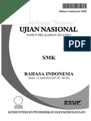 Pembahasan Soal Un Bahasa Indonesia Smk 2015