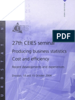 27th CEIES seminar - Producing business statistics Cost and efficiency Recent developments and experiences