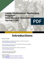 PMP Student Orientation Spring 2016