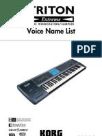 Korg Triton Extreme Voice Name List