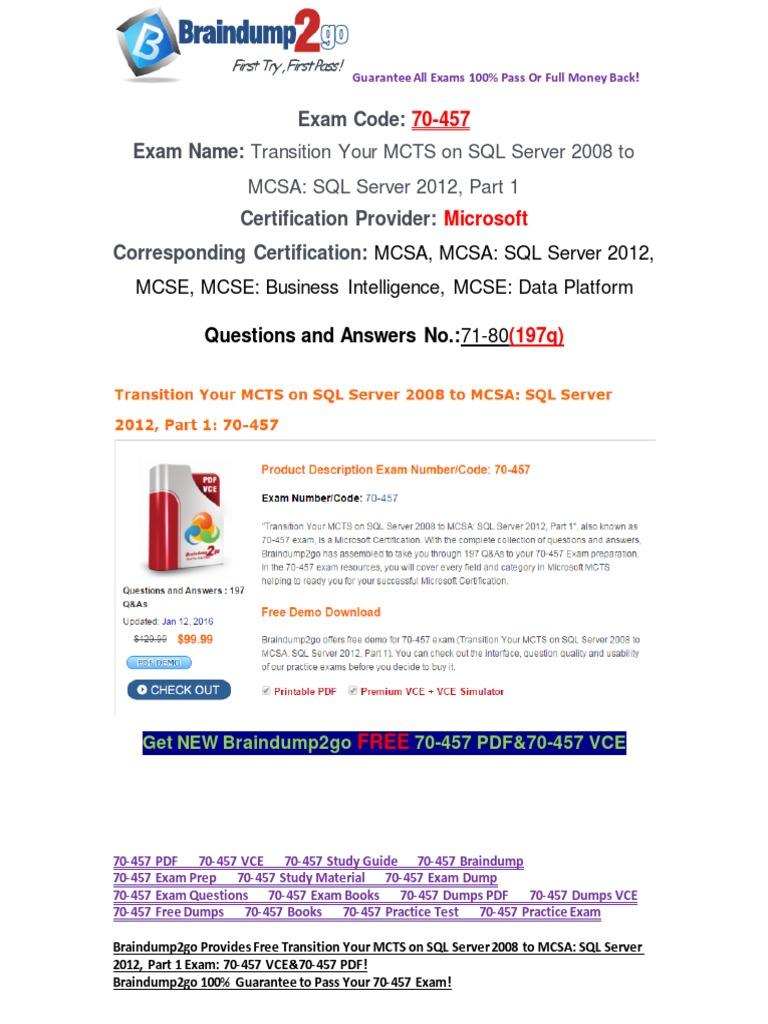 100 Passbraindump2go 70 457 Study Guide 71 80 Microsoft Sql