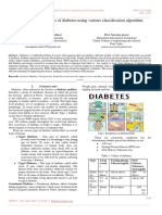A Survey on Diagnosis of Diabetes Using Various Classification Algorithm