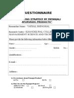 Questionnaire Patanjali1