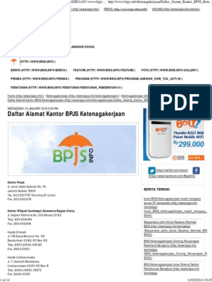 Daftar Alamat Kantor Bpjs Ketenagakerjaan Www Bpjs Pdf