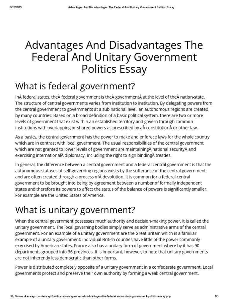 advantages and disadvantages to the unitary confederate and federal systems of government