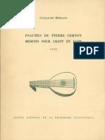Psaumes de Pierre Certon Reduits Pour Chant Et Luth 1554 Guillaume Morlaye