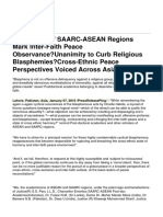 Academics of SAARC-ASEAN Regions Mark Inter-Faith Peace Observance-Unanimity to Curb Religious Blasphemies-Cross-Ethnic Peace Perspectives Voiced Across Asia