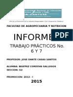 Informe de Practica No. 6 y 7 , 8 y 9