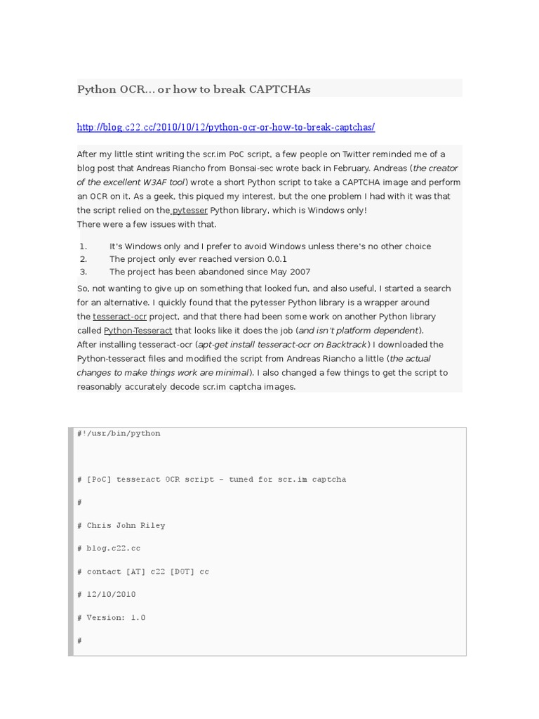 Python Quebrar Captch Python Ocr | Software | Areas Of