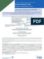 DWS Global Agribusiness NFO Application Form