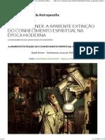 Rudolf Steiner - A Aparente Extinção Do Conhecimento Espiritual Na Época Moderna (BVA)