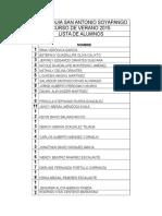Lista de Alumnos y Alumnas Parroquia San Antonio Soyapango