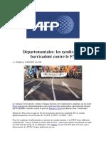 AFP 11 Mars 2015 Départementales Les Syndicats Se Barricadent Contre Le FN