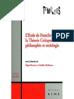 Tumultes n17-18 LÉcole de Francfort La Théorie Critique Entre Philosophie Et Sociologie 02_2001 01_2002