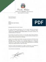 Carta de Condolencias del Presidente Danilo Medina a Zemara Alma viuda Troncoso por Fallecimiento de su Esposo, Manuel de Jesús Troncoso Barrera
