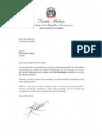 Carta de Condolencias del Presidente Danilo Medina a Nélsida Marmolejos por Fallecimiento de su Padre, Fillo Marmolejos