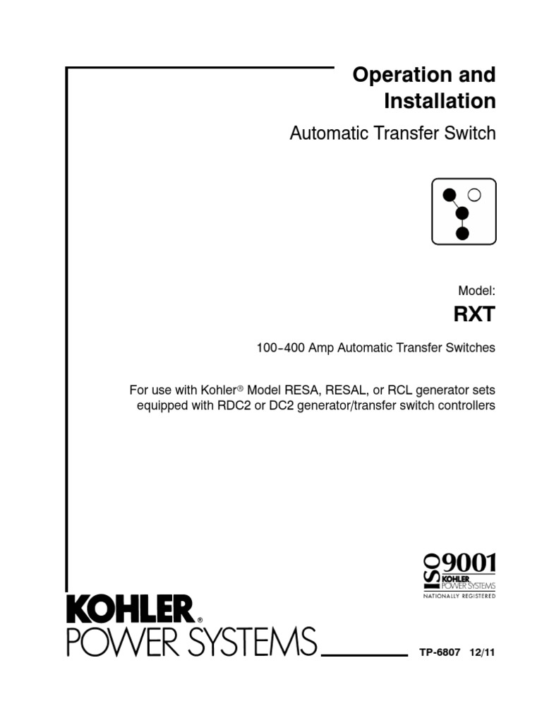Kohler RXT Transfer Switch Operation/Installation Manual ...