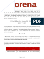 Convocatoria del proceso de selección interna de MORENA en Hidalgo