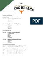 2016 Texas Relays Schedule