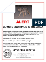 Culver City Animal Services alert on coyotes